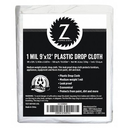 Plastic Dropcloth, 1 mL, 9ft.x12ft.