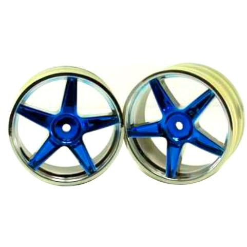 06008pb Chrome front 5 spoke blue anodized wheels 2 pcs