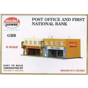 Model Power 1539 N Scale Post Office and First National Bank