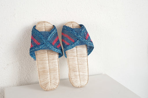 handmade blue pink striped sandals