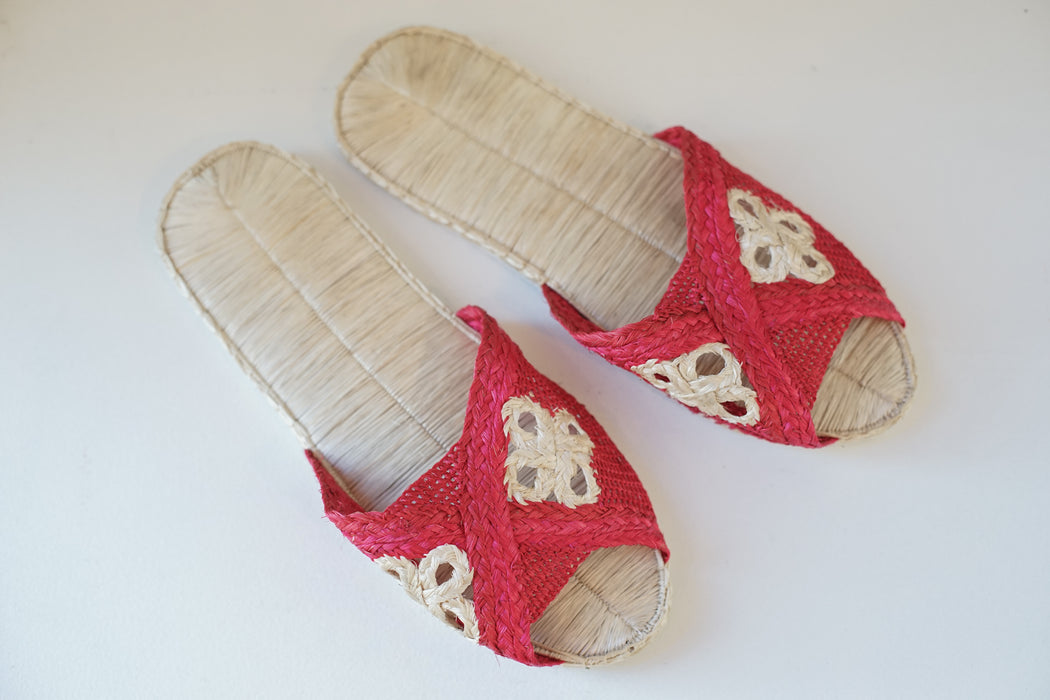 handmade pink medallion sandals
