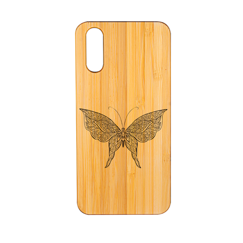 Huawei P 20 Bambus Butterfly 2 Lasergravur Smartphone Hülle