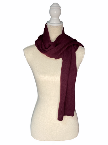 Eleganter Merino Wolle Strick Schal in Bordeaux Rot