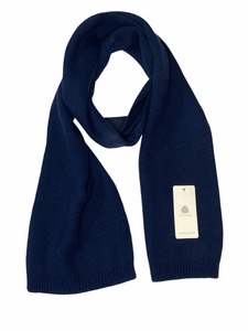 Eleganter Merino Wolle Strick Schal in Navy Blau