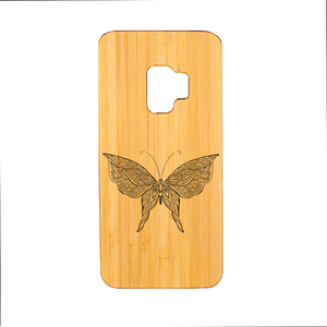 Samsung Galaxy S9 Bambus Butterfly 2 Lasergravur Smartphone Hülle