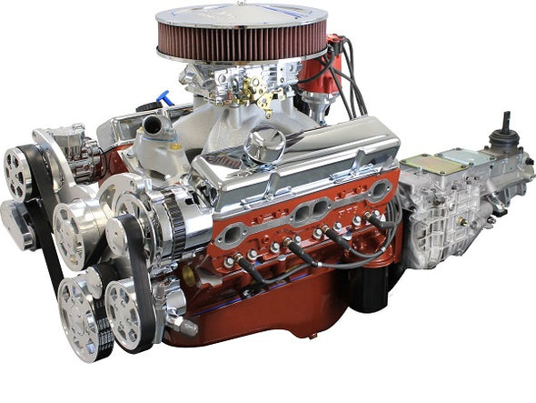 BluePrint Engines Builder Series 454 CI SBC ProSeries Stroker Crate Engine and TKX Manual Trans Package | Small Block GM Style | Dressed Longblock with Carburetor