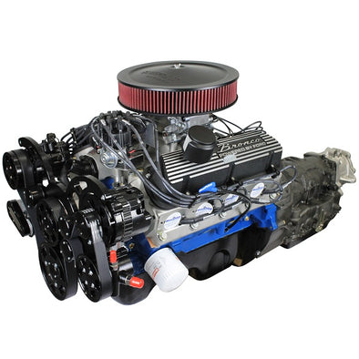 BluePrint Engines Builder Series 306CI Bronco Engine and 4R70W Auto Trans Package | Small Block Ford Style | Dressed Longblock with Fuel Injection | Aluminum Heads | Roller Cam | Black Front Accessory Drive