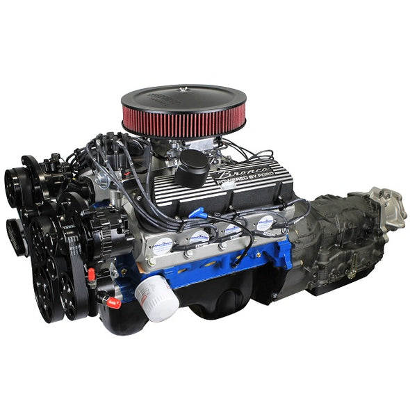 BluePrint Engines Builder Series 306CI Bronco Engine and 4R70W Auto Trans Package | Small Block Ford Style | Dressed Longblock with Carburetor | Aluminum Heads | Roller Cam | Black Front Accessory Drive
