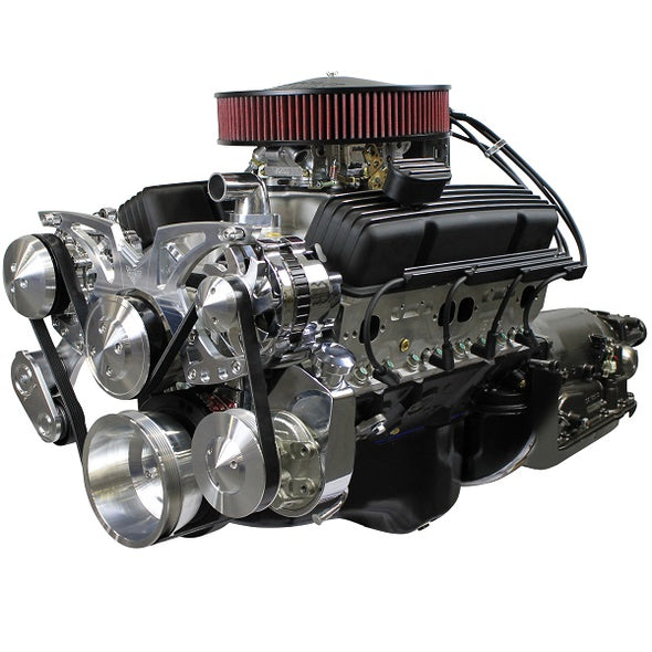 BluePrint Engines Builder Series 383CI Stroker Crate Engine and TKX Manual Trans Package | Small Block GM Style | Dressed Longblock with Carburetor  | Aluminum Heads | Roller Cam