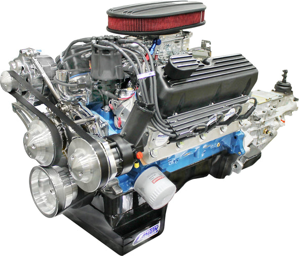 BluePrint Engines Builder Series 347CI Stroker Engine and 4R70W Auto Trans Package | Small Block Ford Style | Dressed Longblock with Carburetor | Aluminum Heads | Roller Cam| Polished Front Accessory Drive