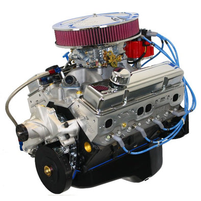 BluePrint Engines 383 CI Stroker Crate Engine | Small Block GM Style | Dressed Longblock with Carburetor  | Aluminum Heads | Roller Cam | Drop in ready