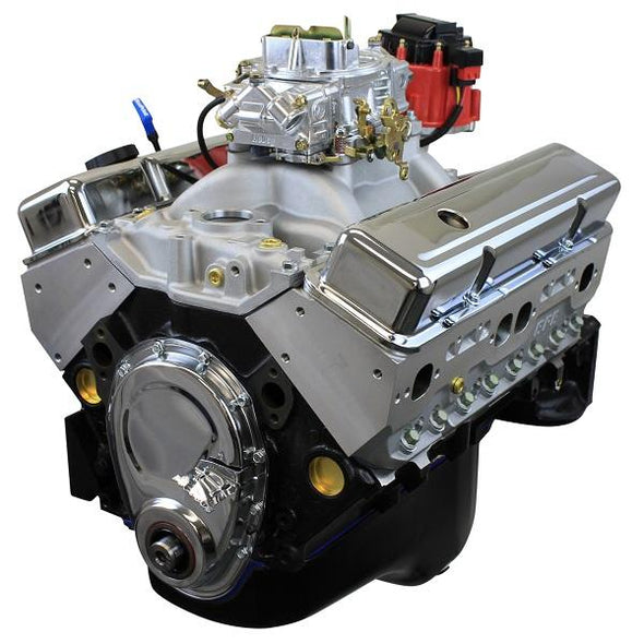 New Block Casting BluePrint Engines 383CI Stroker Crate Engine | Dressed Longblock with Carburetor  | Aluminum Heads | Roller Cam