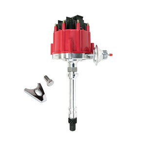 HEI DISTRIBUTOR | CHEVY SB/BB | V8 ENGINE | 65K VOLT COIL | BLACK DUST COVER | RED CAP