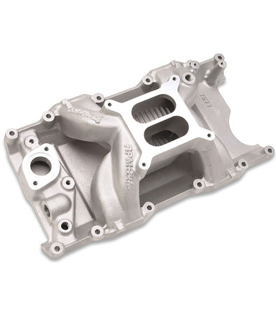 EDELBROCK PERFORMER RPM AIR-GAP SMALL BLOCK MOPAR INTAKE MANIFOLD 7577 | MAGNUM HEADS | DUAL PLANE | NATURAL ALUMINUM