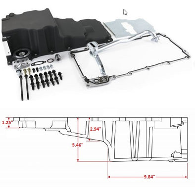 LS Oil Pan Swap Kit | Low Profile Oil Pan Kit for HotRod / Muscle Car Engine Swap | Black