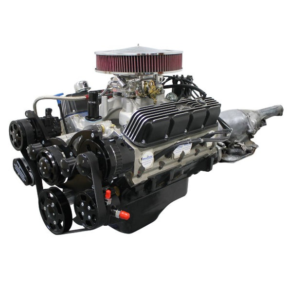 BluePrint Engines Builder Series Mopar 408CI Stroker Crate Engine and 727 Auto Transmission | Small Block Chrysler | Roller Cam | Black Front Accessory Drive