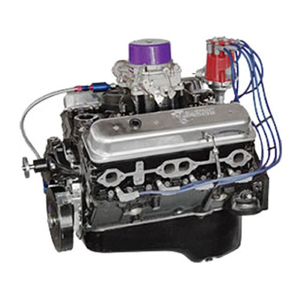 BluePrint Engines 383CI Stroker Marine Crate Engine | Small Block GM Style | Dressed Longblock with Carburetor  | Iron Heads | Roller Cam