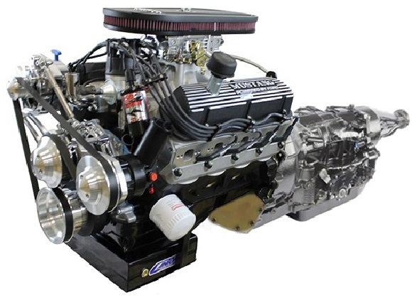 BluePrint Engines Builder Series 347CI Stroker Mustang Engine and 4R70W Auto Trans Package | Small Block Ford Style | Dressed Longblock with Carburetor | Aluminum Heads | Roller Cam  |  Polished Front Accessory Drive