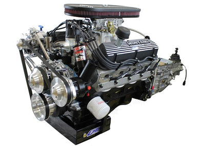 BluePrint Engines Builder Series 347CI Stroker Mustang Engine and TKO Manual Trans Package | Small Block Ford Style | Dressed Longblock with Carburetor | Aluminum Heads | Roller Cam | Polished Front Accessory Drive