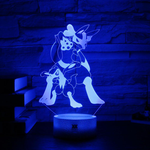 pokemon riolu & lucario led 3d night light of blue color