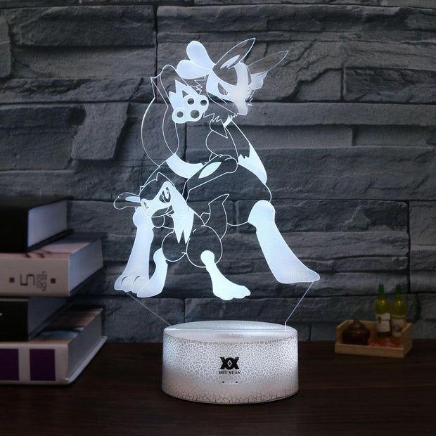 pokemon riolu & lucario led 3d night light of white color