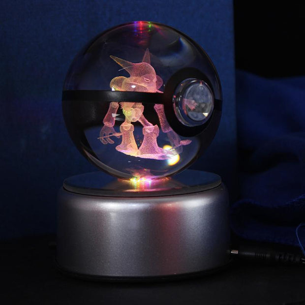 pokemon alakazam crystal led pokeball lamp side view