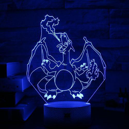pokemon charizard 3d led night light of blue color