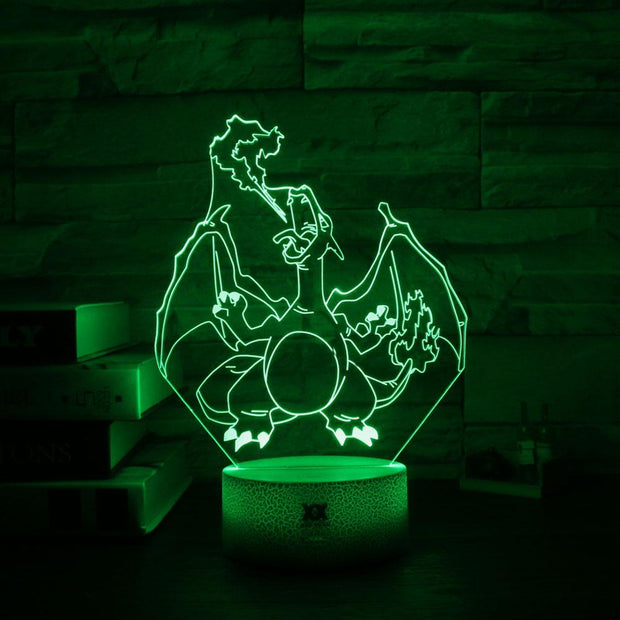 pokemon charizard 3d led night light of green color