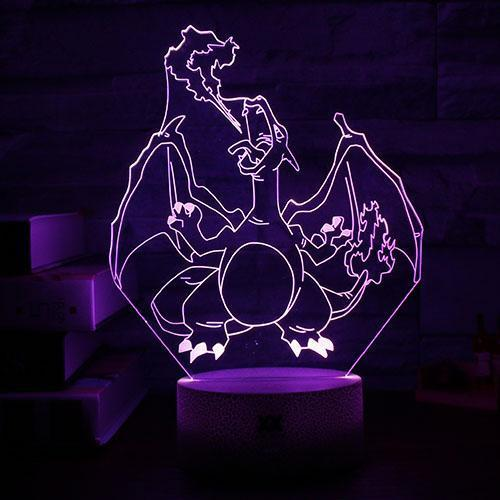 pokemon charizard 3d led night light of purple color