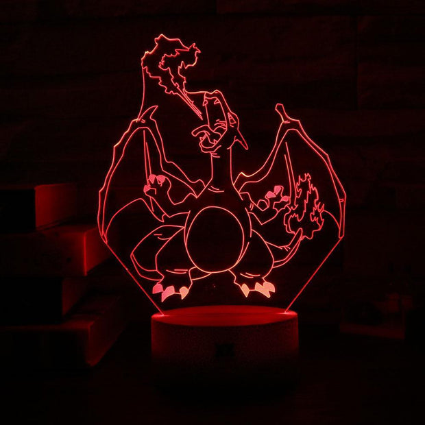 pokemon charizard 3d led night light of red color