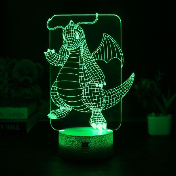 pokemon dragonite led 3d night light of green color