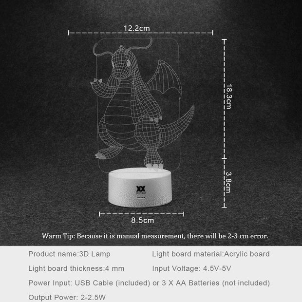 pokemon dragonite led 3d night light sizes