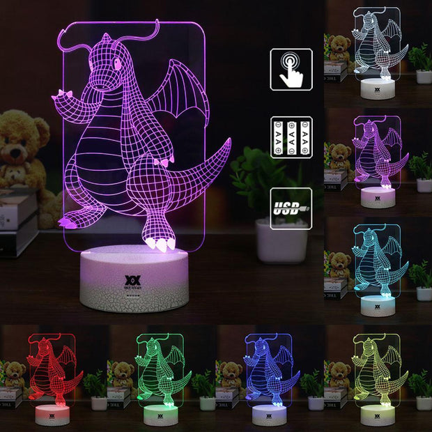 pokemon dragonite led 3d night light of many colors