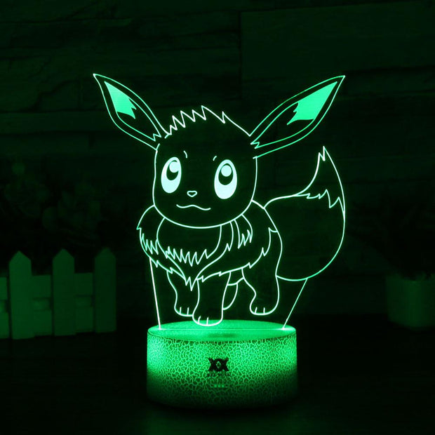 pokemon eevee led 3d night light of green color
