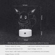 pokemon eevee led 3d night light sizes
