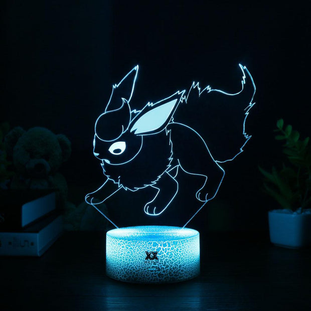 pokemon flareon led 3d night light of blue color