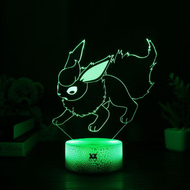 pokemon flareon led 3d night light of green color