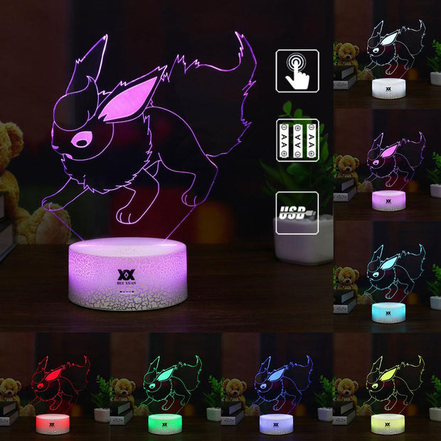 pokemon flareon led 3d night light of many color