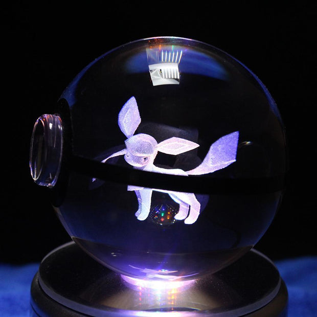 pokemon glaceon led crystal pokeball close up