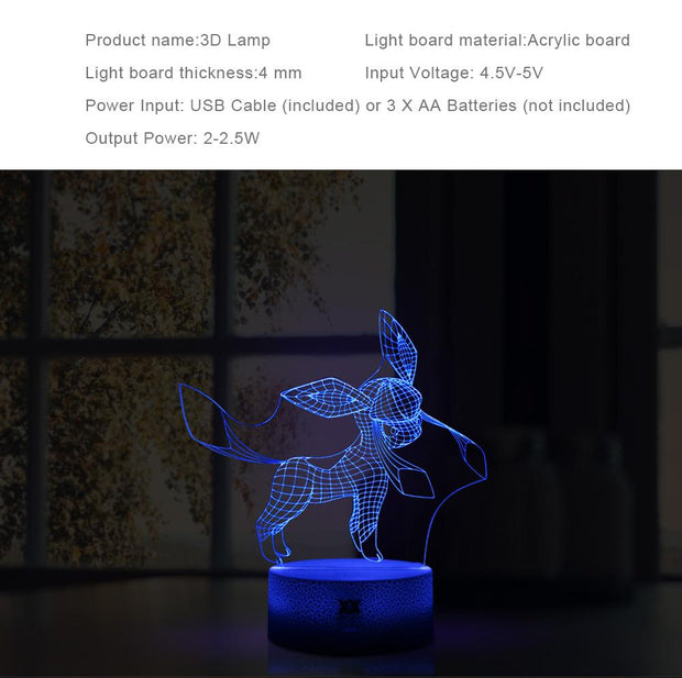 pokemon glaceon led 3d night light specs