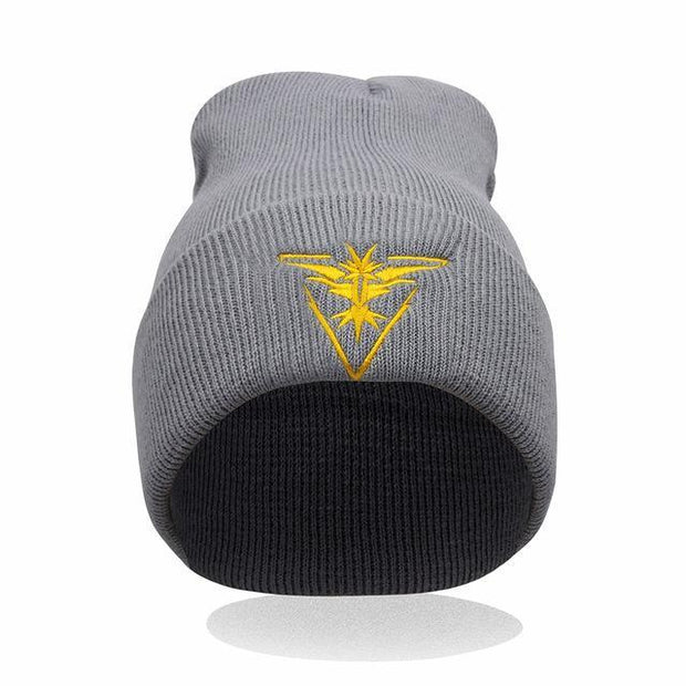pokemon go team instinct beanie of gray color