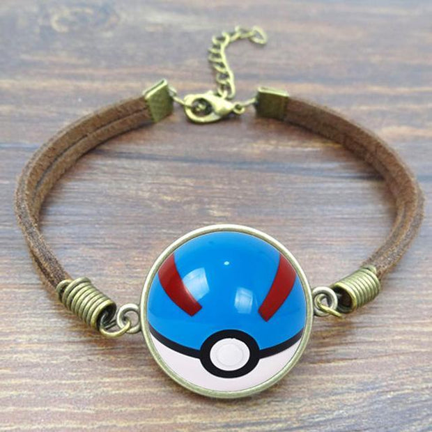 pokemon great ball leather bracelet
