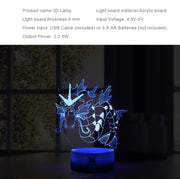 pokemon gyarados led 3d lamp specs