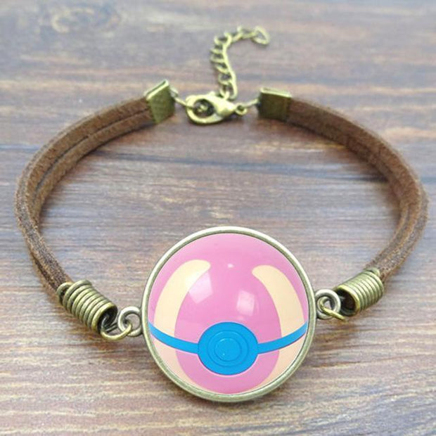 pokemon heal ball leather bracelet