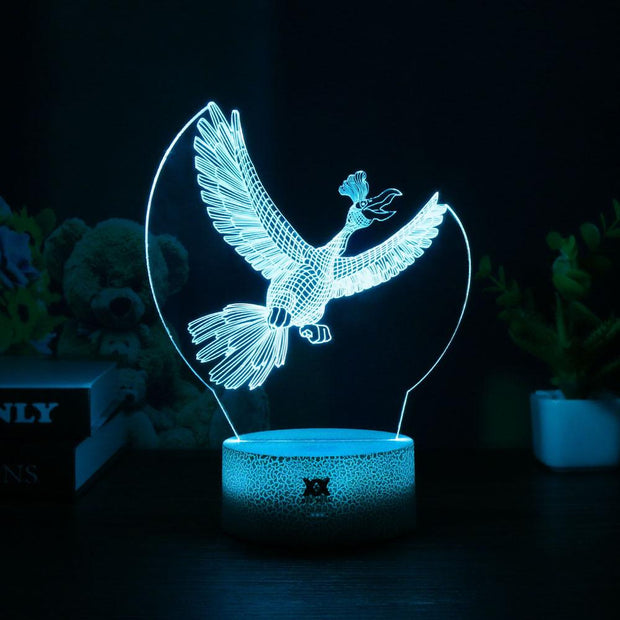 pokemon ho-oh led 3d night light of blue color