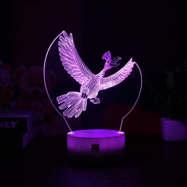 pokemon ho-oh led 3d night light of purple color