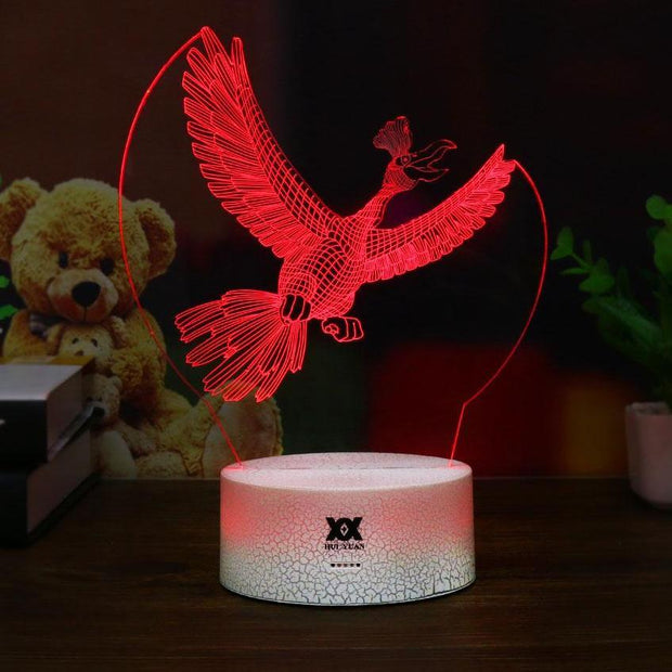 pokemon ho-oh led 3d night light of red color