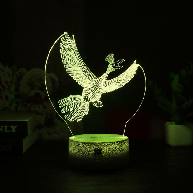 pokemon ho-oh led 3d night light of yellow color
