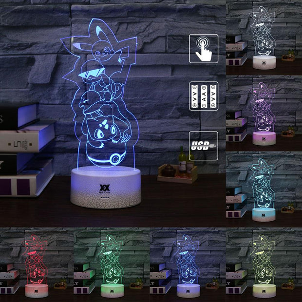 pokemon kanto starters led 3d night light of many colors