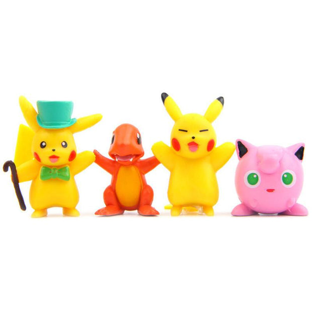 pokemon kawaii figure toys set with pikachu, charmander and jigglypuff